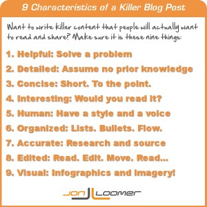 9 Characteristics of a Killer Blog Post