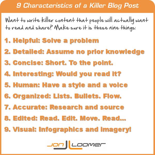 9 Characteristics of a Killer Blog Post