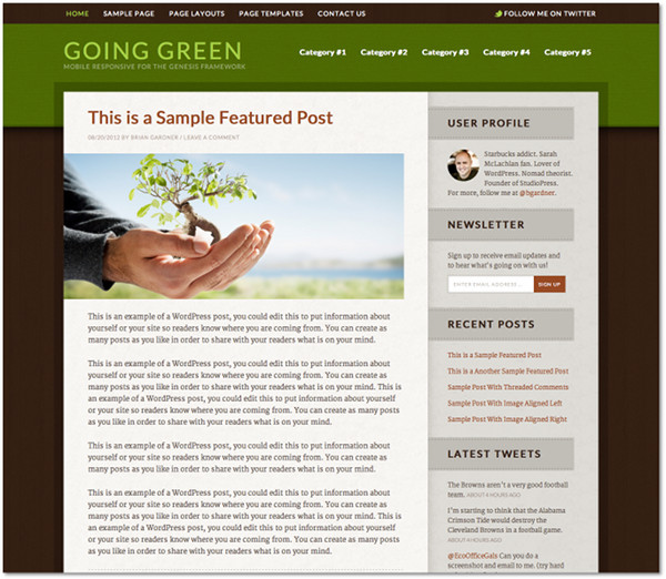 Going Green Genesis Framework Child Theme