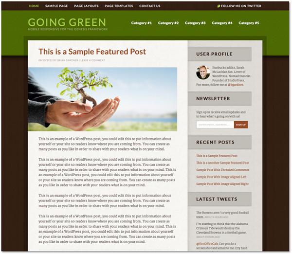 Going Green Genesis Framework Child Theme