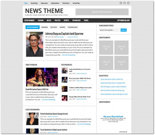 News Genesis Framework Child Theme