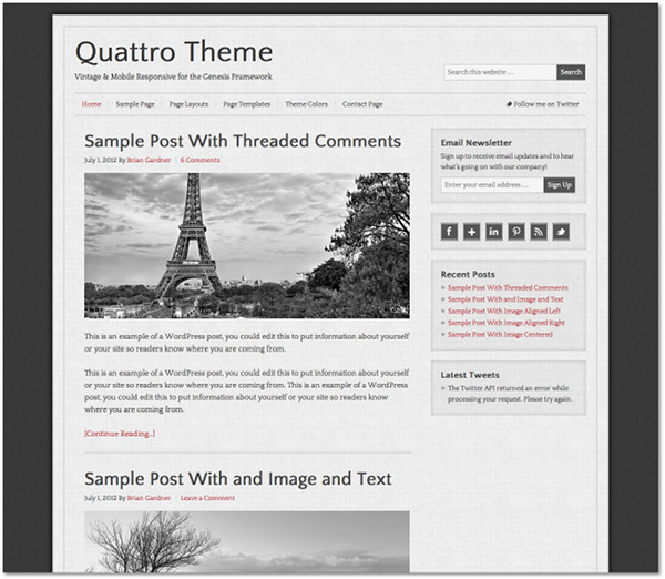 Quattro Genesis Framework Child Theme