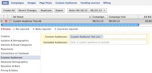Facebook Custom Audience Ad Creation
