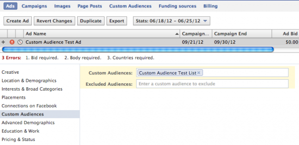Facebook Custom Audience Ad Creation