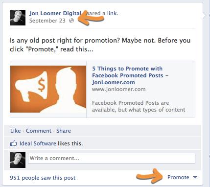 Facebook Promoted Post Older 3 Days