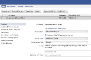 Facebook Sponsored Result Ad