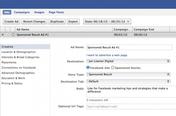 facebook sponsored result ad 600x396 How to Create a Sponsored Result Facebook Search Ad