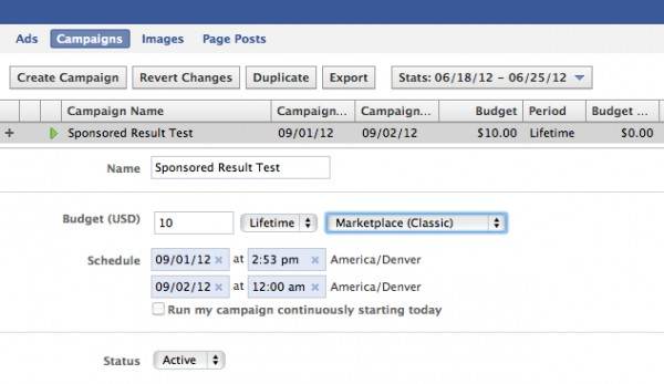 facebook sponsored result campaign 600x347 How to Create a Sponsored Result Facebook Search Ad