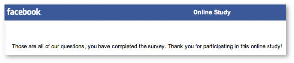 Facebook Survey Thank You
