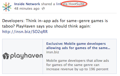 Hootsuite Facebook post attribution