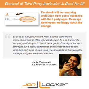 Removal of attribution for publishing with third party apps on Facebook