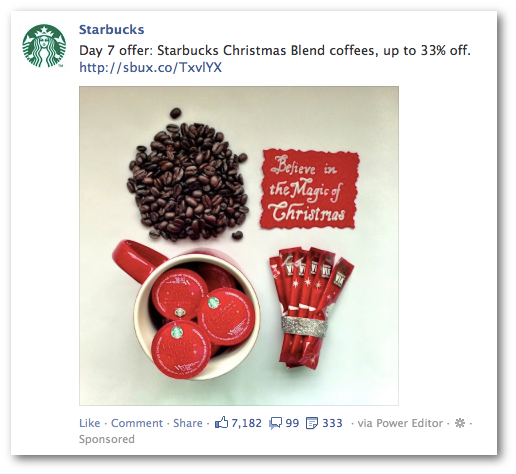 starbucks promoted post Facebook Advertising Guidelines Change: No to Discounts