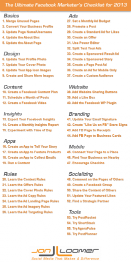 The Ultimate Facebook Marketer's Checklist for 2013