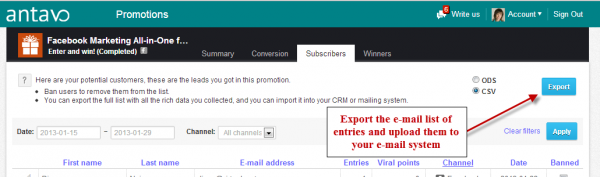 Export e mail list 600x177 How to Engage Your Audience and Grow Your E mail List with Facebook Contests