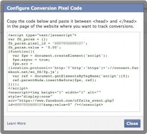 Configure Facebook Conversion Pixel
