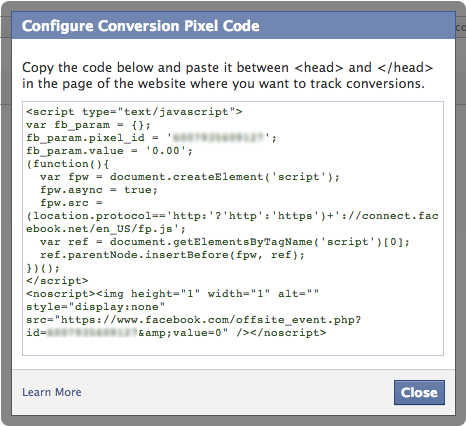 Configure Facebook Conversion Pixel