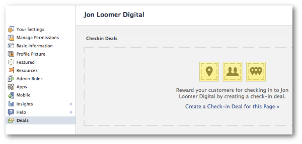 Create Facebook Check-in Deal