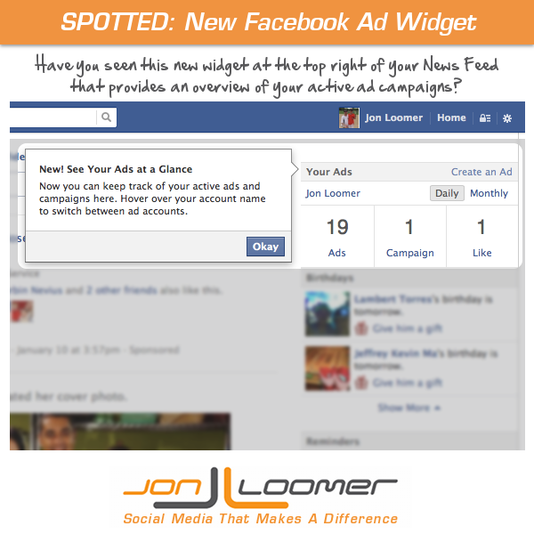 facebook ad widget news feed Spotted: New Facebook Ads Widget at Top of News Feed