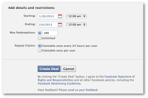 Facebook Check-in Deal Restrictions