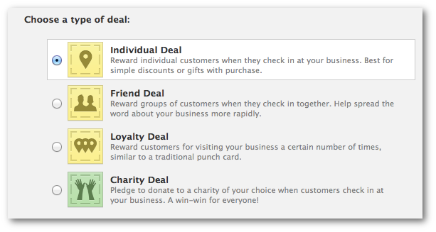 Facebook Check-in Deal Type