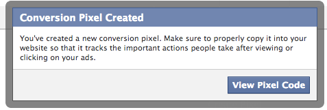 Facebook Conversion Pixel Created