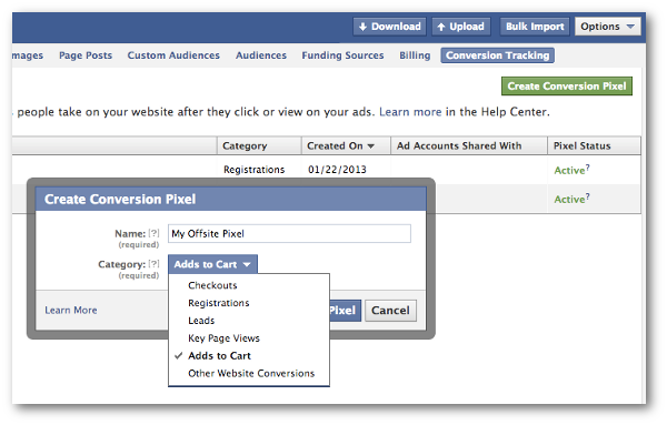 facebook power editor offsite pixel Facebook Conversion Tracking: More Than Just eCommerce Conversions