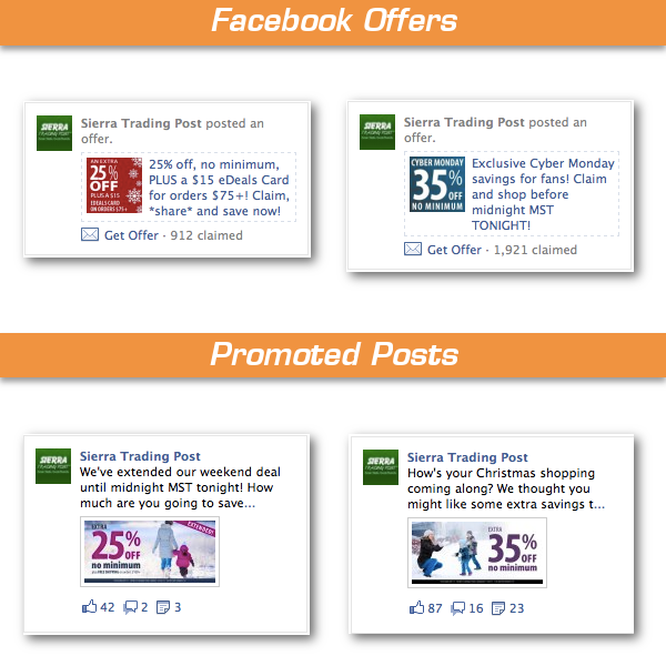 Sierra Trading Post Facebook Offers Promoted Posts