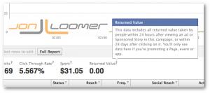 Facebook Ads Returned Value Metric