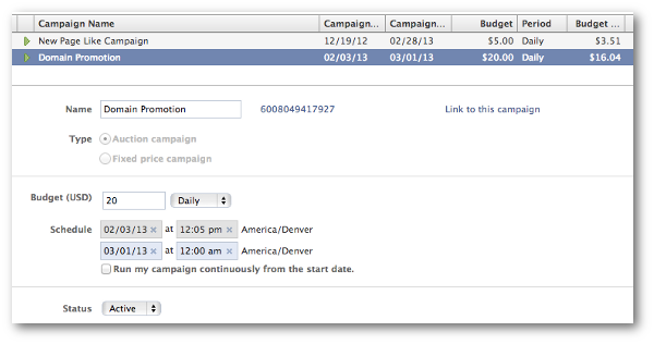 facebook ad campaign Domain Sponsored Story: How to Promote Shares From Your Website