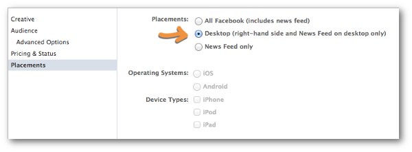 Facebook Power Editor Placements Desktop