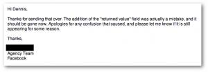Facebook Returned Value Metric Email