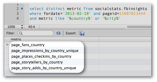 Page Level Facebook Insights Export Data