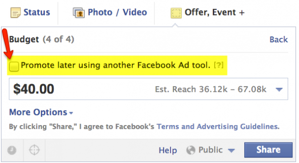 Promoting a Facebook Offer