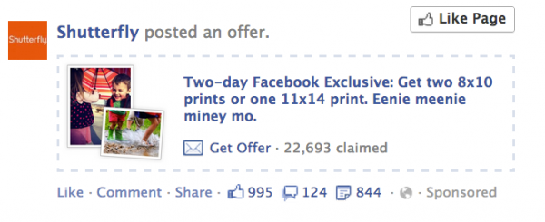 shutterfly 600x245 How to Use Facebook Offers to Grow Your Email List