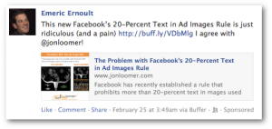 Facebook Domain Sponsored Story Example
