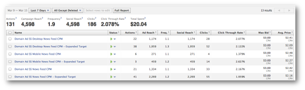 Facebook Ad Campaign Performance Metrics