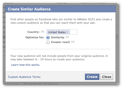 Facebook Create Lookalike Audience Power Editor