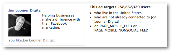 Facebook mobile only marketplace ad for Promoted Page
