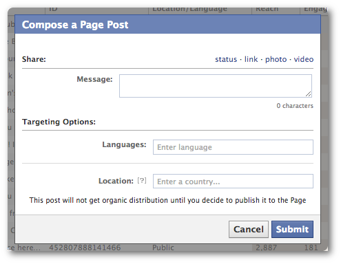 Compose Facebook Unpublished Post