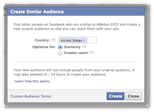 Facebook Create Similar Audience