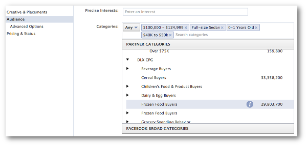 Facebook Partner Categories Power Editor