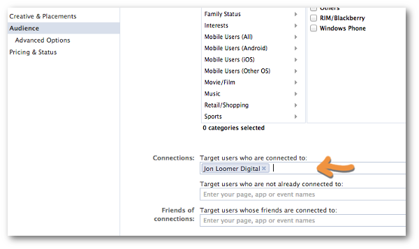 Facebook Power Editor Create Ad Connections