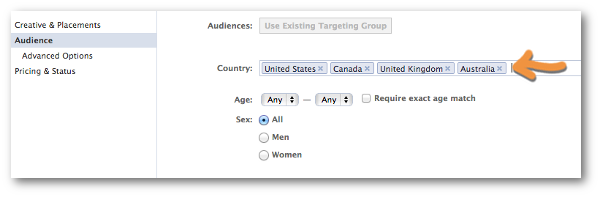 Facebook Power Editor Create Ad Countries