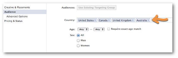 Facebook Power Editor Create Ad Countries