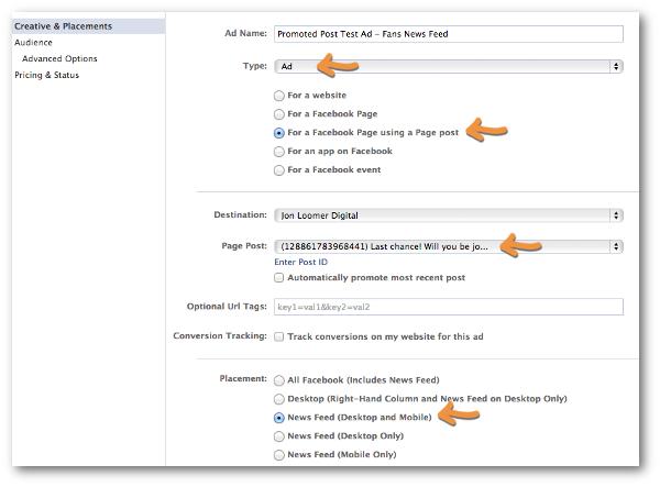Facebook Power Editor Create Ad Creative & Placement