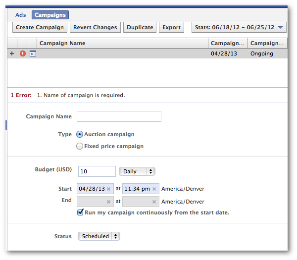 Facebook Power Editor Create Campaign