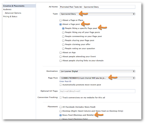 Facebook Power Editor Create Ad Sponsored Story