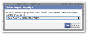 Facebook Power Editor Select Campaign