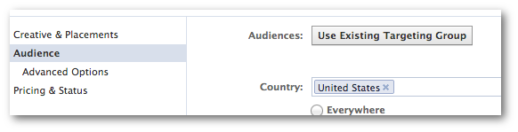 Use Existing Targeting Group Facebook Power Editor