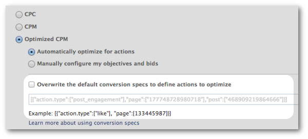 Facebook Conversion Specs Overwrite Actions